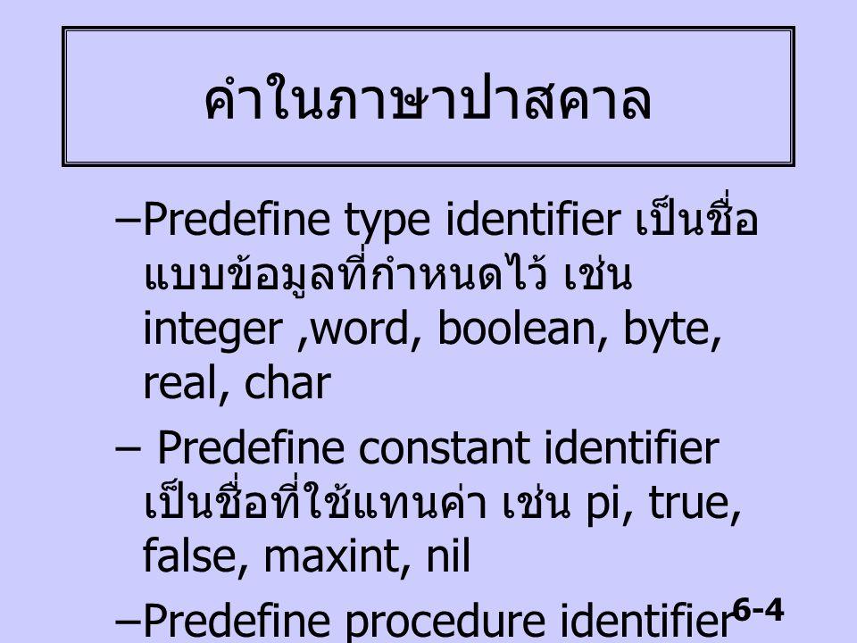 6-5 คำในภาษาปาสคาล –Predefine variable identifier เป็น ชื่อที่ใช้แทนตัวแปร เช่น mem, port, input, output, randseed –Predefine function identifier เป็น ชื่อของฟังก์ชันที่ได้กำหนดไว้ เช่น upcase, random, sqrt, chr, ord, succ, readkey