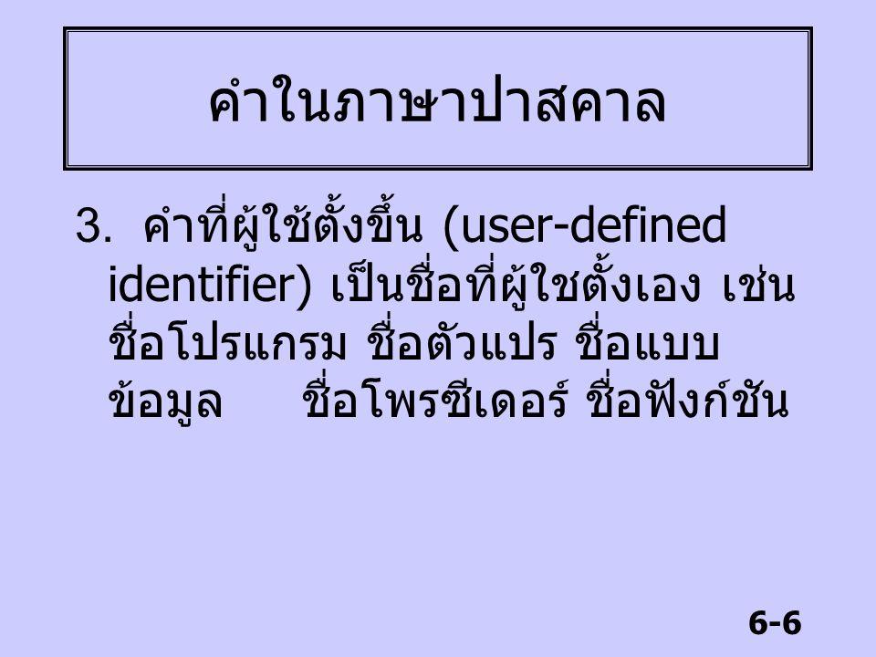6-6 คำในภาษาปาสคาล 3. คำที่ผู้ใช้ตั้งขึ้น (user-defined identifier) เป็นชื่อที่ผู้ใชตั้งเอง เช่น ชื่อโปรแกรม ชื่อตัวแปร ชื่อแบบ ข้อมูล ชื่อโพรซีเดอร์