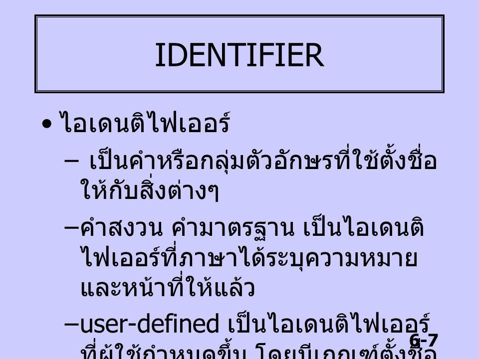 6-7 IDENTIFIER ไอเดนติไฟเออร์ – เป็นคำหรือกลุ่มตัวอักษรที่ใช้ตั้งชื่อ ให้กับสิ่งต่างๆ – คำสงวน คำมาตรฐาน เป็นไอเดนติ ไฟเออร์ที่ภาษาได้ระบุความหมาย และ