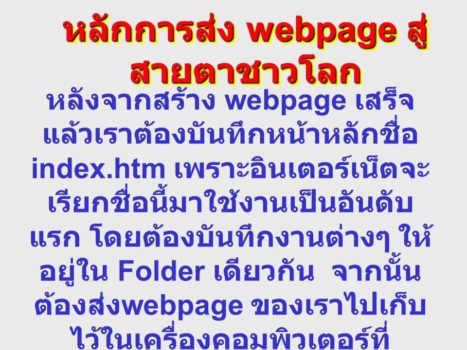 หลักการส่ง webpage สู่ สายตาชาวโลก หลังจากสร้าง webpage เสร็จ แล้วเราต้องบันทึกหน้าหลักชื่อ index.htm เพราะอินเตอร์เน็ตจะ เรียกชื่อนี้มาใช้งานเป็นอันด