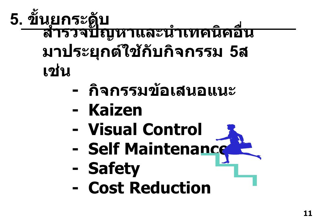 11 สำรวจปัญหาและนำเทคนิคอื่น มาประยุกต์ใช้กับกิจกรรม 5 ส เช่น - กิจกรรมข้อเสนอแนะ - Kaizen - Visual Control - Self Maintenance - Safety - Cost Reducti