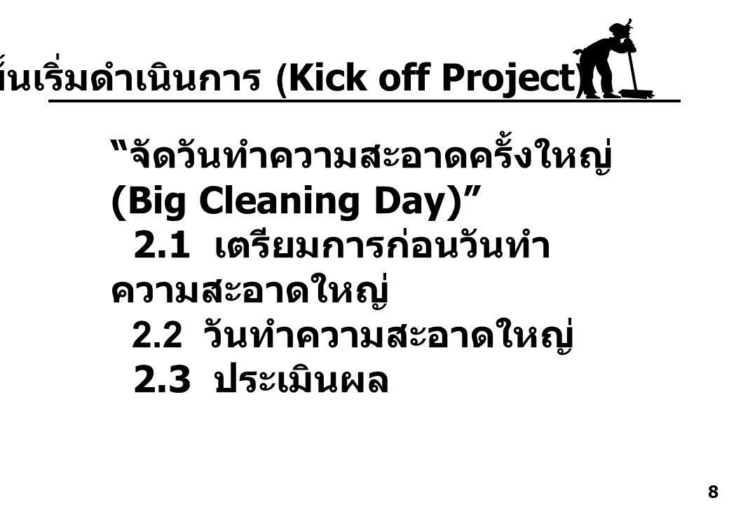 """8 """" จัดวันทำความสะอาดครั้งใหญ่ (Big Cleaning Day)"""" 2.1 เตรียมการก่อนวันทำ ความสะอาดใหญ่ 2.2 วันทำความสะอาดใหญ่ 2.3 ประเมินผล 2. ขั้นเริ่มดำเนินการ (Ki"""