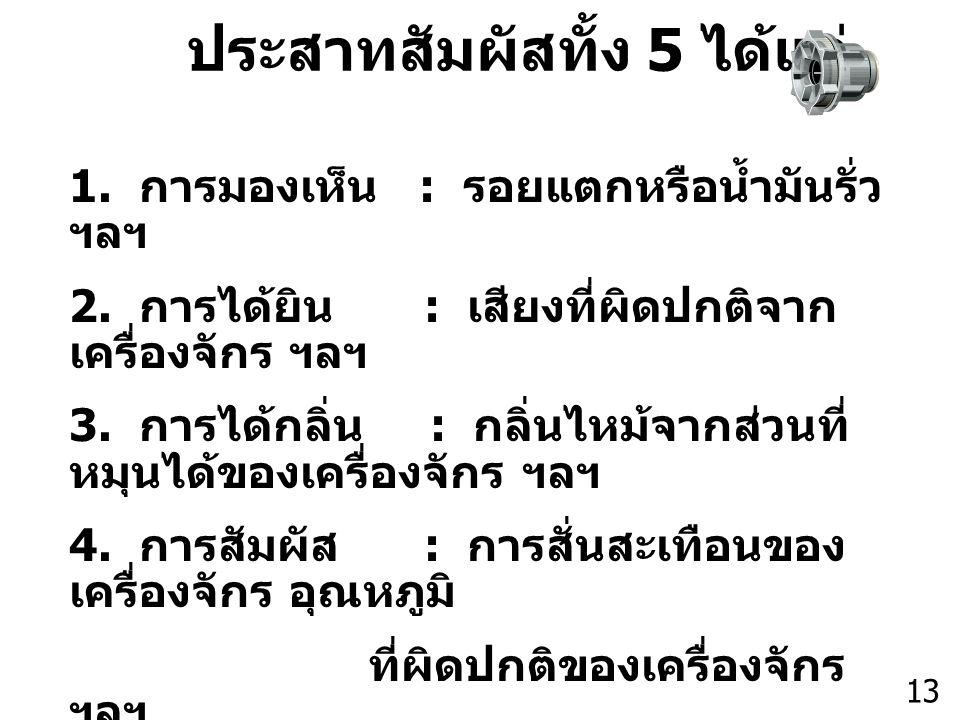 Thailand Productivity Institute 13 1. การมองเห็น : รอยแตกหรือน้ำมันรั่ว ฯลฯ 2. การได้ยิน : เสียงที่ผิดปกติจาก เครื่องจักร ฯลฯ 3. การได้กลิ่น : กลิ่นไห