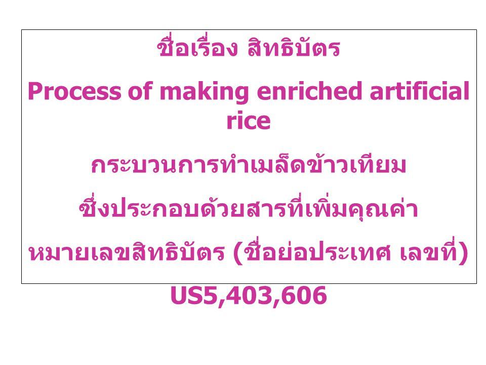 ชื่อเรื่อง สิทธิบัตร Process of making enriched artificial rice กระบวนการทำเมล็ดข้าวเทียม ซึ่งประกอบด้วยสารที่เพิ่มคุณค่า หมายเลขสิทธิบัตร ( ชื่อย่อปร