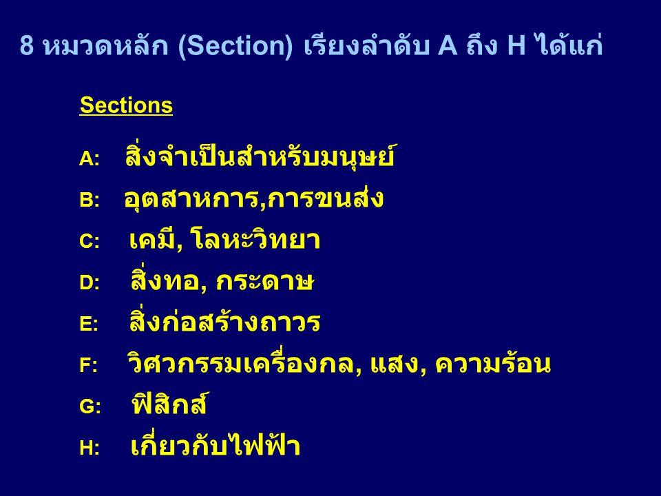 8 หมวดหลัก (Section) เรียงลำดับ A ถึง H ได้แก่ Sections A: สิ่งจำเป็นสำหรับมนุษย์ B: อุตสาหการ, การขนส่ง C: เคมี, โลหะวิทยา D: สิ่งทอ, กระดาษ E: สิ่งก่อสร้างถาวร F: วิศวกรรมเครื่องกล, แสง, ความร้อน G: ฟิสิกส์ H: เกี่ยวกับไฟฟ้า