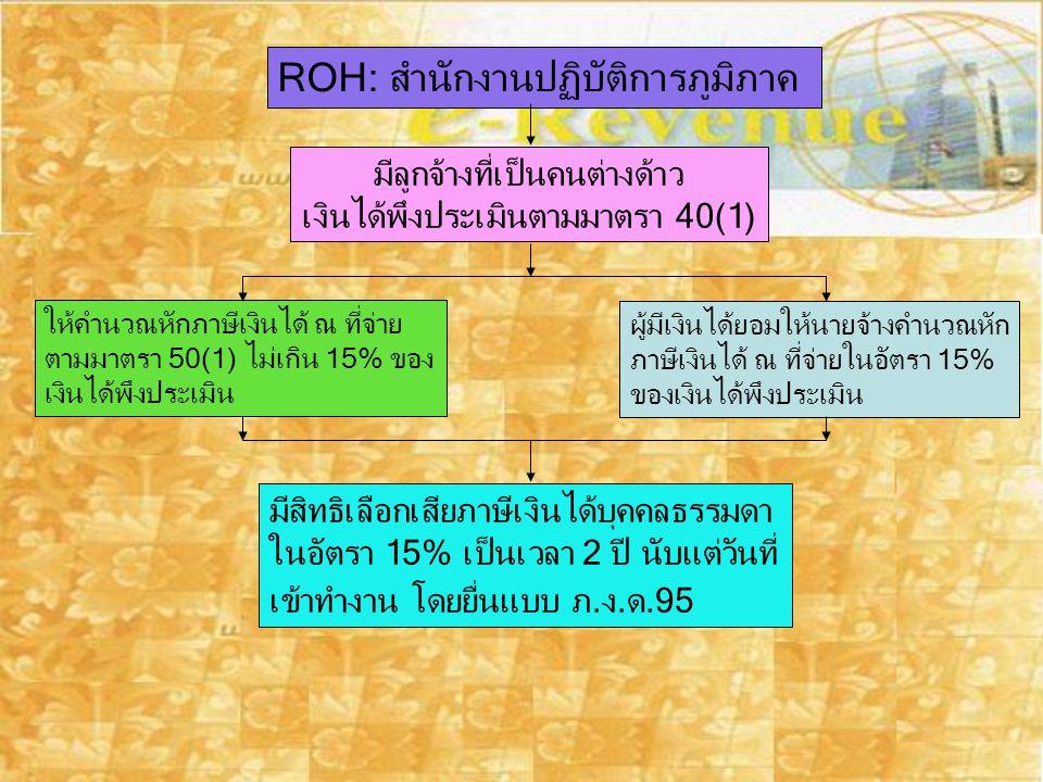 ROH: สำนักงานปฏิบัติการภูมิภาค มีลูกจ้างที่เป็นคนต่างด้าว เงินได้พึงประเมินตามมาตรา 40(1) ให้คำนวณหักภาษีเงินได้ ณ ที่จ่าย ตามมาตรา 50(1) ไม่เกิน 15%