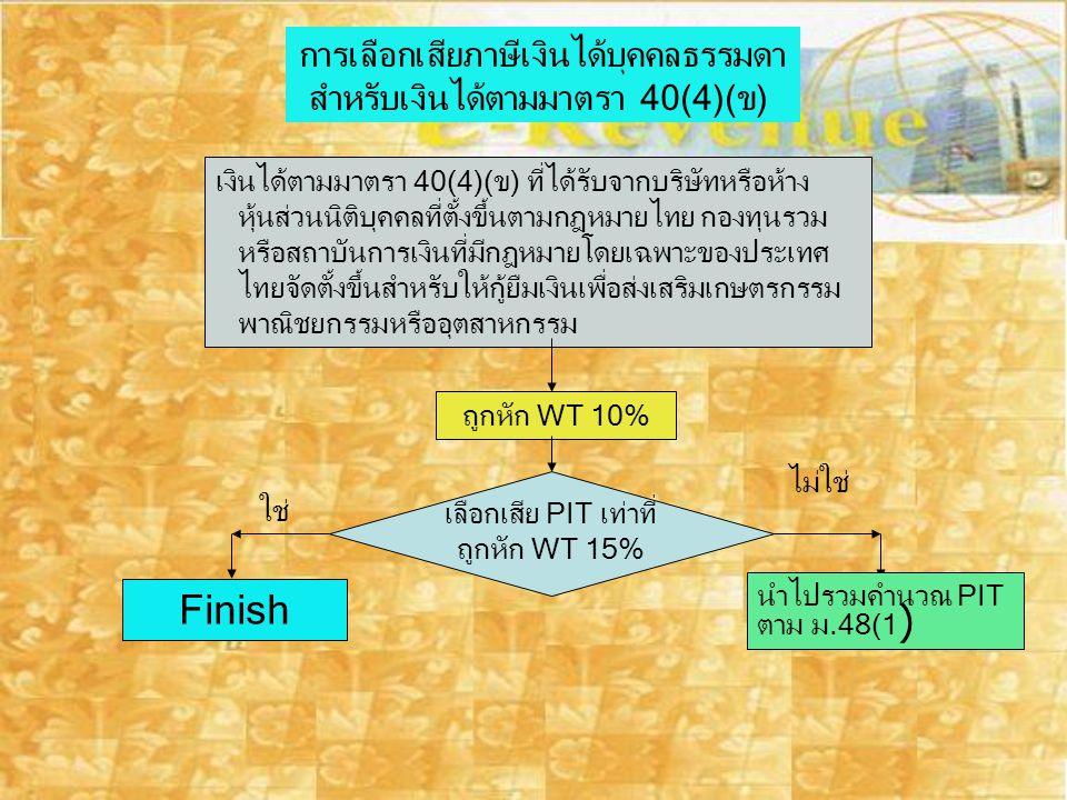 การเลือกเสียภาษีเงินได้บุคคลธรรมดา สำหรับเงินได้ตามมาตรา 40(4)( ข ) เงินได้ตามมาตรา 40(4)(ข) ที่ได้รับจากบริษัทหรือห้าง หุ้นส่วนนิติบุคคลที่ตั้งขึ้นตา