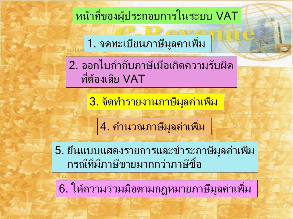 หน้าที่ของผู้ประกอบการในระบบ VAT 1. จดทะเบียนภาษีมูลค่าเพิ่ม 2. ออกใบกำกับภาษีเมื่อเกิดความรับผิด ที่ต้องเสีย VAT 3. จัดทำรายงานภาษีมูลค่าเพิ่ม 4. คำน
