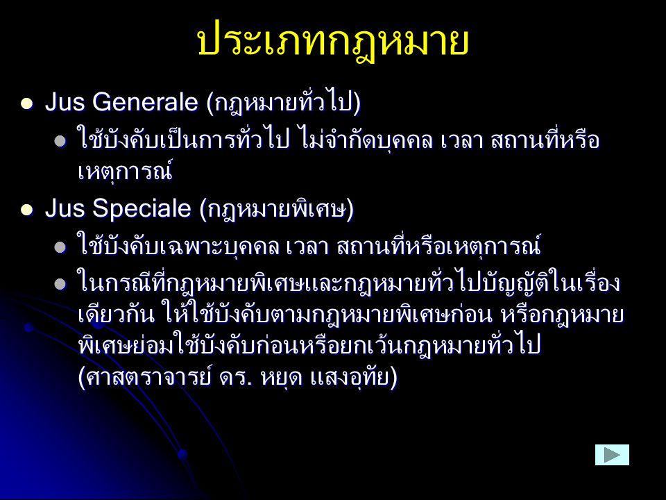 ประเภทกฎหมาย Jus Generale (กฎหมายทั่วไป) Jus Generale (กฎหมายทั่วไป) ใช้บังคับเป็นการทั่วไป ไม่จำกัดบุคคล เวลา สถานที่หรือ เหตุการณ์ ใช้บังคับเป็นการท