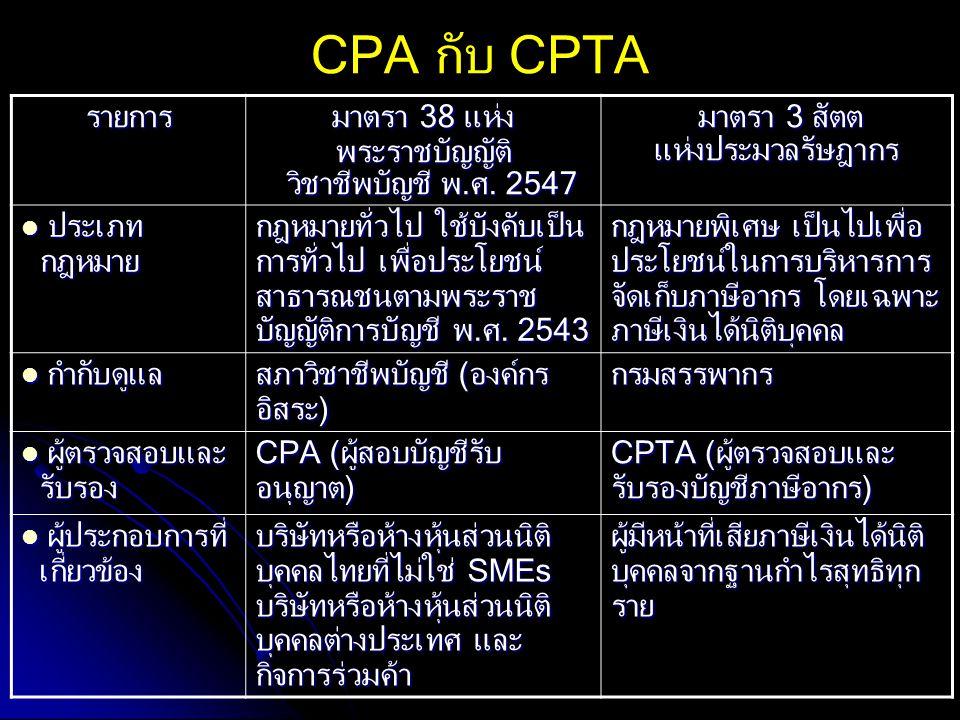 CPA กับ CPTA รายการ มาตรา 38 แห่ง พระราชบัญญัติ วิชาชีพบัญชี พ.ศ. 2547 วิชาชีพบัญชี พ.ศ. 2547 มาตรา 3 สัตต มาตรา 3 สัตตแห่งประมวลรัษฎากร ประเภท กฎหมาย