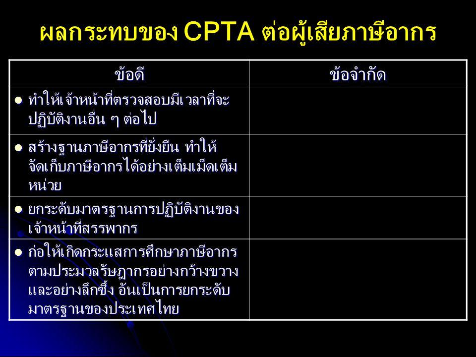 ผลกระทบของ CPTA ต่อผู้เสียภาษีอากร ข้อดีข้อจำกัด ทำให้เจ้าหน้าที่ตรวจสอบมีเวลาที่จะ ปฏิบัติงานอื่น ๆ ต่อไป ทำให้เจ้าหน้าที่ตรวจสอบมีเวลาที่จะ ปฏิบัติง