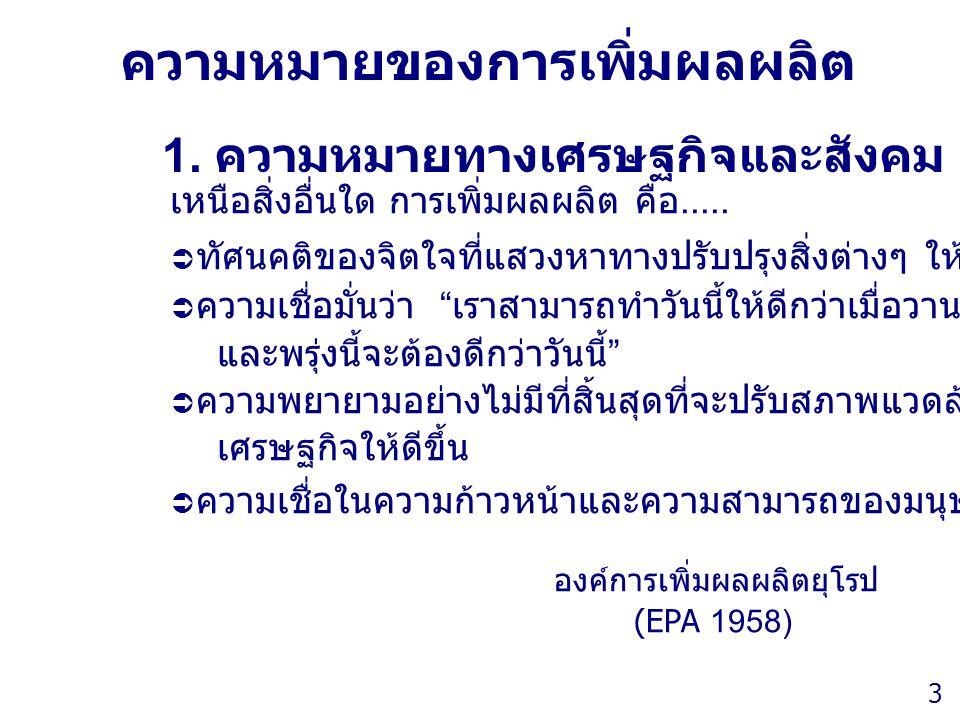 Thailand Productivity Institute 3 ความหมายของการเพิ่มผลผลิต 1. ความหมายทางเศรษฐกิจและสังคม เหนือสิ่งอื่นใด การเพิ่มผลผลิต คือ.....  ทัศนคติของจิตใจที