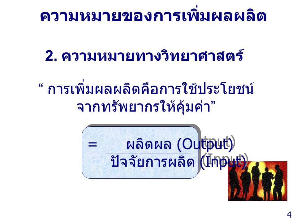 Thailand Productivity Institute 4 ความหมายของการเพิ่มผลผลิต = ผลิตผล (Output) ปัจจัยการผลิต (Input) = ผลิตผล (Output) ปัจจัยการผลิต (Input) 2. ความหมา