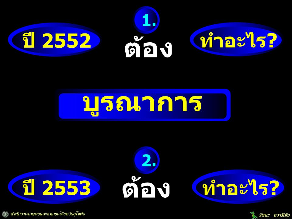 ปี 2552 ทำอะไร.ต้อง 1. 1.จัดทำแผนบูรณาการเชิงพื้นที่ ปี 2552 (หนังสือที่ กษ 0212/ว 63 ลว.