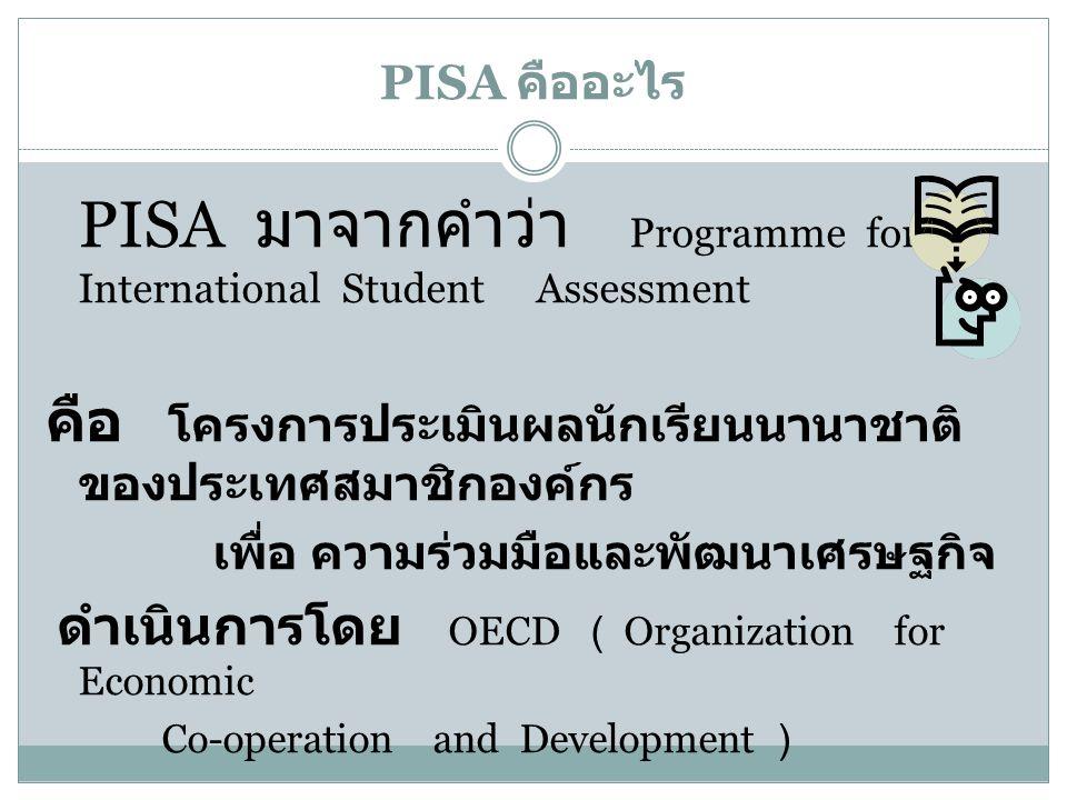 PISA คืออะไร PISA มาจากคำว่า Programme for International Student Assessment คือ โครงการประเมินผลนักเรียนนานาชาติ ของประเทศสมาชิกองค์กร เพื่อ ความร่วมม