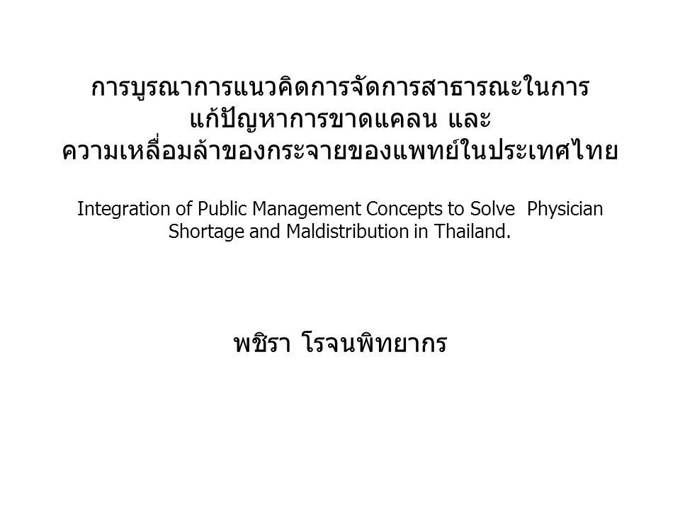 การบูรณาการแนวคิดการจัดการสาธารณะในการ แก้ปัญหาการขาดแคลน และ ความเหลื่อมล้าของกระจายของแพทย์ในประเทศไทย Integration of Public Management Concepts to