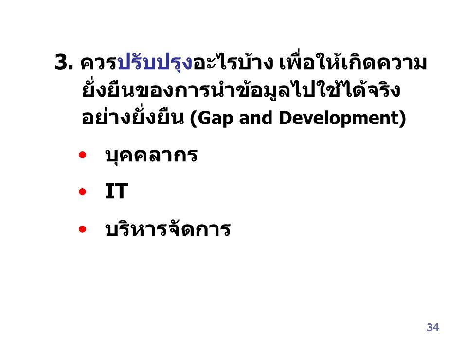 34 3. ควรปรับปรุงอะไรบ้าง เพื่อให้เกิดความ ยั่งยืนของการนำข้อมูลไปใช้ได้จริง อย่างยั่งยืน (Gap and Development) บุคคลากร IT บริหารจัดการ