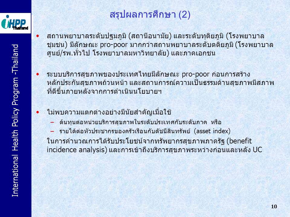 International Health Policy Program -Thailand 10 สรุปผลการศึกษา (2) สถานพยาบาลระดับปฐมภูมิ (สถานีอนามัย) และระดับทุติยภูมิ (โรงพยาบาล ชุมชน) มีลักษณะ