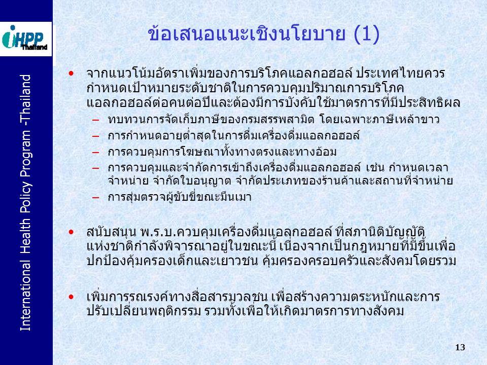International Health Policy Program -Thailand 13 ข้อเสนอแนะเชิงนโยบาย (1) จากแนวโน้มอัตราเพิ่มของการบริโภคแอลกอฮอล์ ประเทศไทยควร กำหนดเป้าหมายระดับชาต
