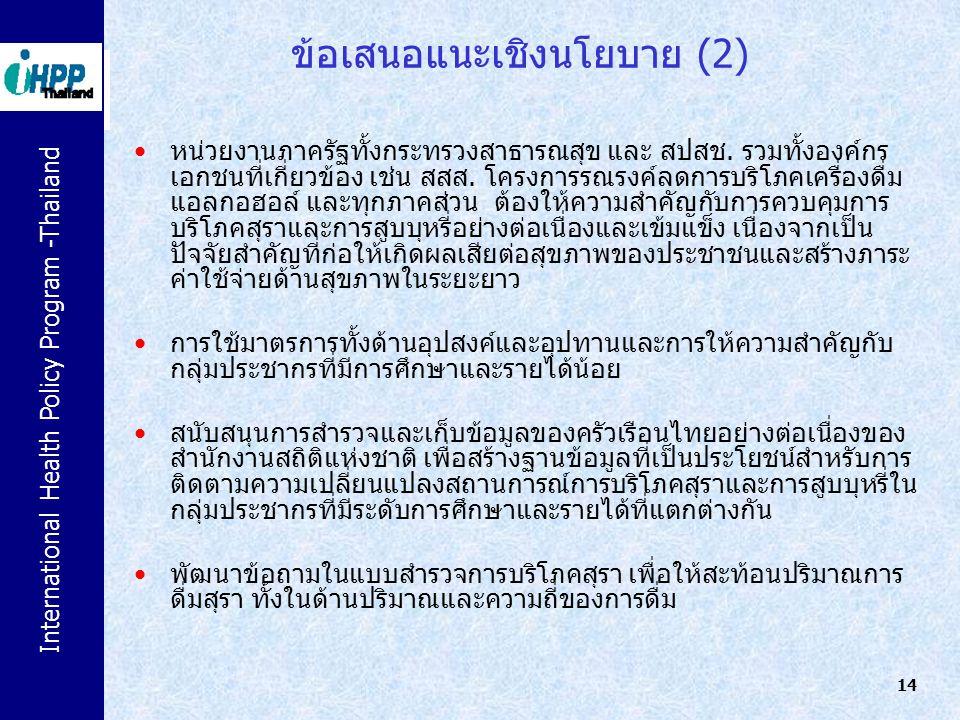 International Health Policy Program -Thailand 14 ข้อเสนอแนะเชิงนโยบาย (2) หน่วยงานภาครัฐทั้งกระทรวงสาธารณสุข และ สปสช. รวมทั้งองค์กร เอกชนที่เกี่ยวข้อ