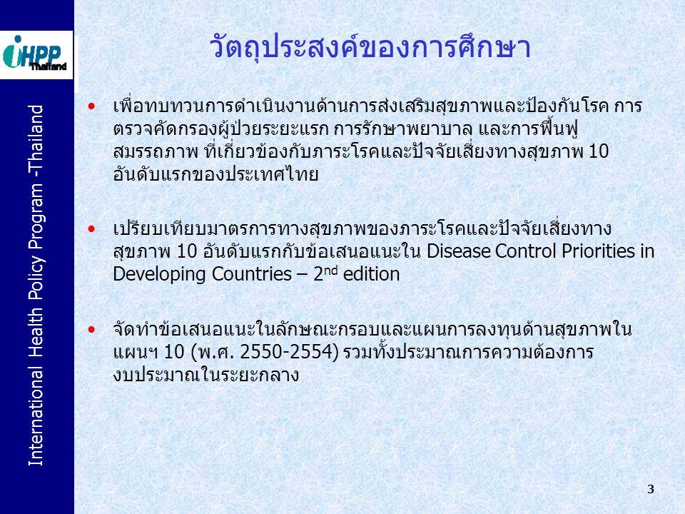 International Health Policy Program -Thailand 3 วัตถุประสงค์ของการศึกษา เพื่อทบทวนการดำเนินงานด้านการส่งเสริมสุขภาพและป้องกันโรค การ ตรวจคัดกรองผู้ป่ว