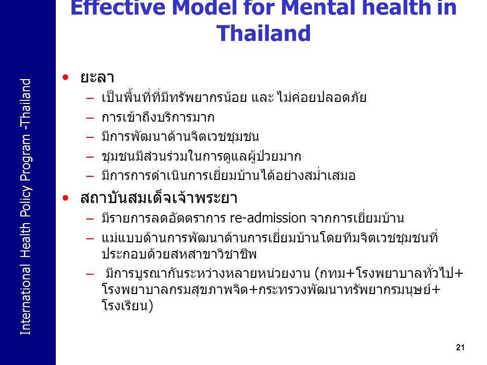 International Health Policy Program -Thailand 21 Effective Model for Mental health in Thailand ยะลา – เป็นพื้นที่ที่มีทรัพยากรน้อย และ ไม่ค่อยปลอดภัย