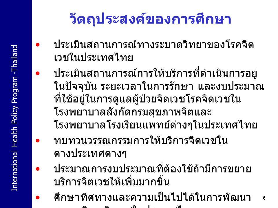 International Health Policy Program -Thailand 7 ประเมินสถานการณ์ทางระบาดวิทยาของโรค จิตเวชในประเทศไทย prevalence of Mental health related problem Mental health report and Thai health report 2009 World health report Mental Health atlas Burden of disease of mental Health related problem BOD report