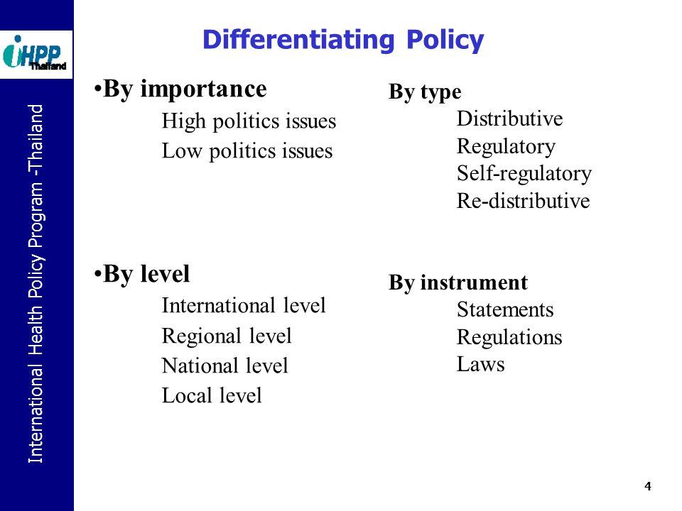 International Health Policy Program -Thailand 5 ระดับของนโยบาย นโยบายของรัฐบาล-แถลงการณ์ของนายกฯ กฎหมาย พรบ พรก กฎกระทรวง ประกาศ แผนพัฒนาเศรษฐกิจและสังคมแห่งชาติ แผนแม่บทแห่งชาติ บัญชียาหลักแห่งชาติ ชุดสิทธิประโยชน์ของระบบประกันสุขภาพ กฎหมาย กฎระเบียบในระดับจังหวัด แนวทางระดับเขตตรวจราชการ มติของคณะกรรมการจังหวัด อำเภอ แนวทางการคัดเลือกเวชภัณฑ์ของโรงพยาบาล Clinical Practice Guidelines, Standard Operating Procedures (SOP) เช่น Laboratory manuals การจัดงานประชุมวิชาการ นโยบายระดับชาติ นโยบายระดับพื้นที่ นโยบายระดับองค์กร