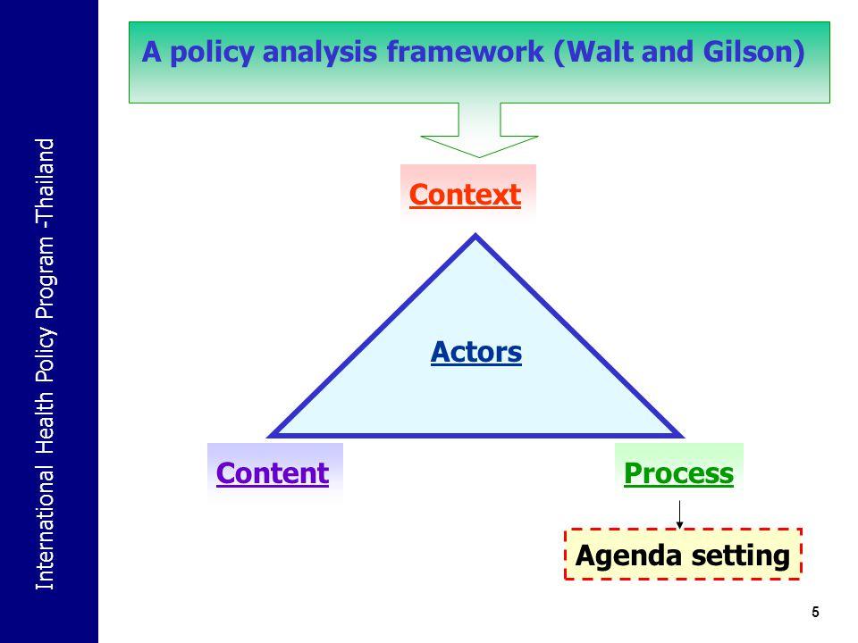 International Health Policy Program -Thailand 5 Actors Context ContentProcess Agenda setting A policy analysis framework (Walt and Gilson)