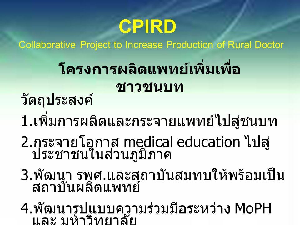 CPIRD Collaborative Project to Increase Production of Rural Doctor โครงการผลิตแพทย์เพิ่มเพื่อ ชาวชนบท วัตถุประสงค์ 1.
