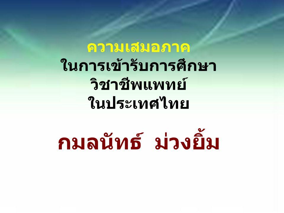 ความเสมอภาค ในการเข้ารับการศึกษา วิชาชีพแพทย์ ในประเทศไทย กมลนัทธ์ ม่วงยิ้ม