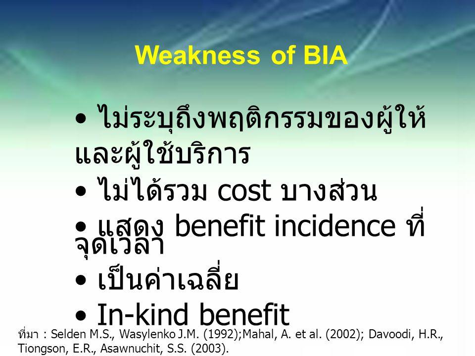Weakness of BIA ไม่ระบุถึงพฤติกรรมของผู้ให้ และผู้ใช้บริการ ไม่ได้รวม cost บางส่วน แสดง benefit incidence ที่ จุดเวลา เป็นค่าเฉลี่ย In-kind benefit ที่มา : Selden M.S., Wasylenko J.M.