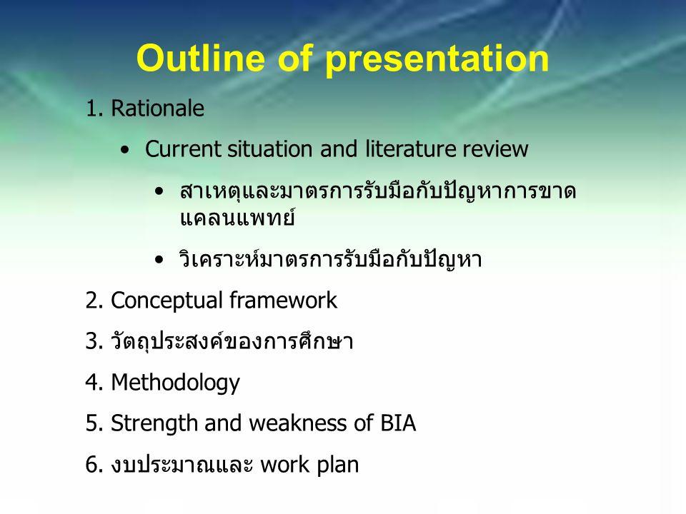 Outline of presentation 1.Rationale Current situation and literature review สาเหตุและมาตรการรับมือกับปัญหาการขาด แคลนแพทย์ วิเคราะห์มาตรการรับมือกับปัญหา 2.Conceptual framework 3.วัตถุประสงค์ของการศึกษา 4.Methodology 5.Strength and weakness of BIA 6.งบประมาณและ work plan