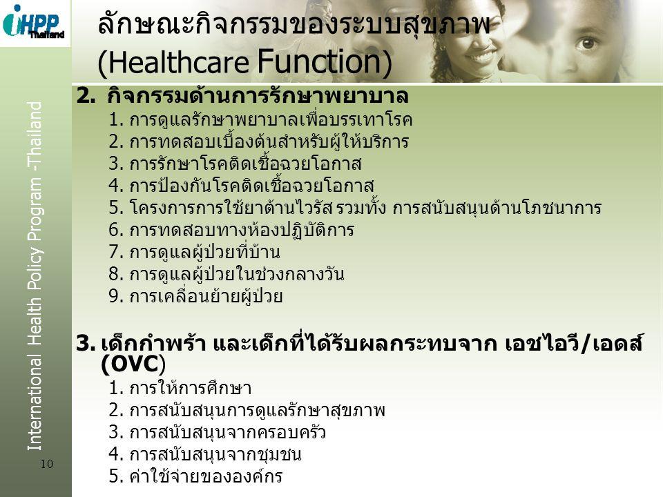 International Health Policy Program -Thailand 10 ลักษณะกิจกรรมของระบบสุขภาพ (Healthcare Function ) 2. กิจกรรมด้านการรักษาพยาบาล 1.การดูแลรักษาพยาบาลเพ