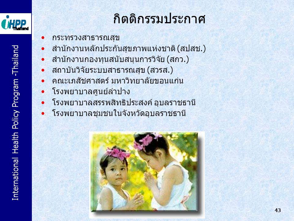 International Health Policy Program -Thailand 43 กิตติกรรมประกาศ กระทรวงสาธารณสุข สำนักงานหลักประกันสุขภาพแห่งชาติ (สปสช.) สำนักงานกองทุนสนับสนุนการวิ