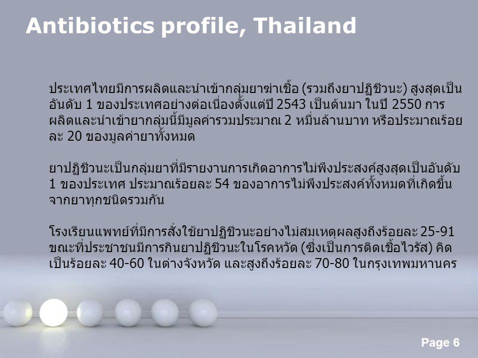 Page 6 Antibiotics profile, Thailand ประเทศไทยมีการผลิตและนำเข้ากลุ่มยาฆ่าเชื้อ (รวมถึงยาปฏิชีวนะ) สูงสุดเป็น อันดับ 1 ของประเทศอย่างต่อเนื่องตั้งแต่ป