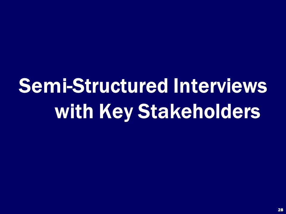28 Semi-Structured Interviews with Key Stakeholders