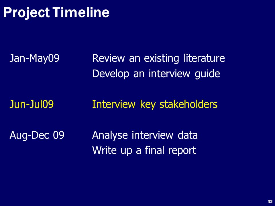 35 Project Timeline Jan-May09Review an existing literature Develop an interview guide Jun-Jul09Interview key stakeholders Aug-Dec 09Analyse interview data Write up a final report