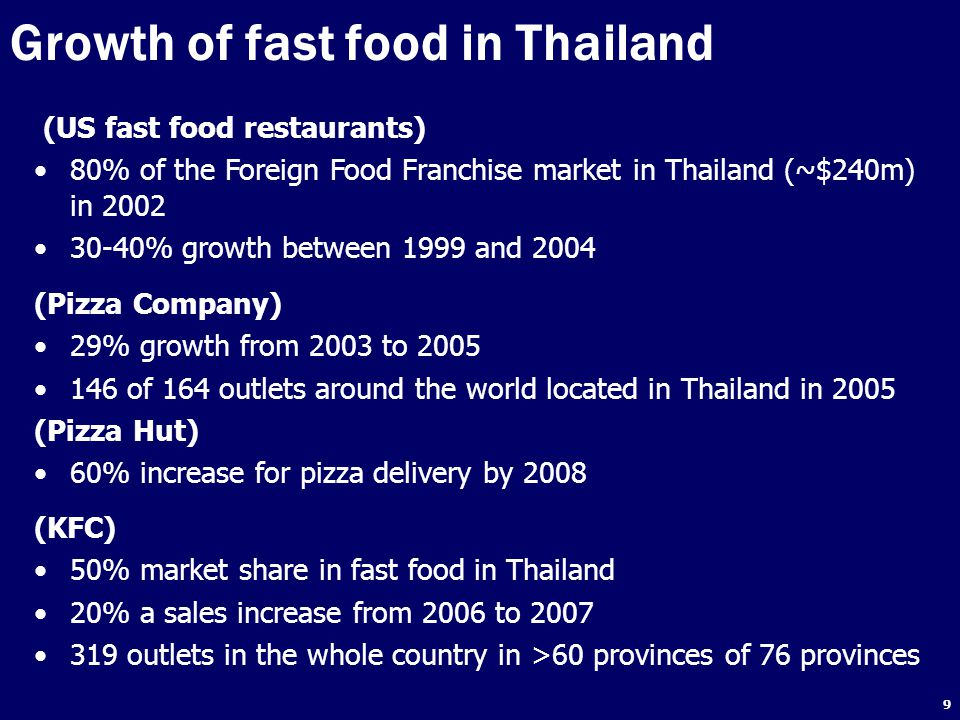 30 Objectives To understand the perception of key stakeholders in relation to factors influencing Thai adolescent's fast food consumption, the roles they play, and their views on policies and interventions to reduce health problems caused by increasing fast food consumption To make recommendations for national government policy on potential approaches to reduce fast food intake, and improve the diets of Thai adolescents
