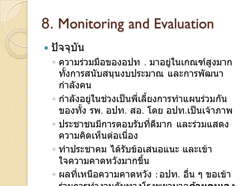 8. Monitoring and Evaluation ปัจจุบัน ◦ ความร่วมมือของอปท. มาอยู่ในเกณฑ์สูงมาก ทั้งการสนับสนุนงบประมาณ และการพัฒนา กำลังคน ◦ กำลังอยู่ในช่วงเป็นพี่เลี