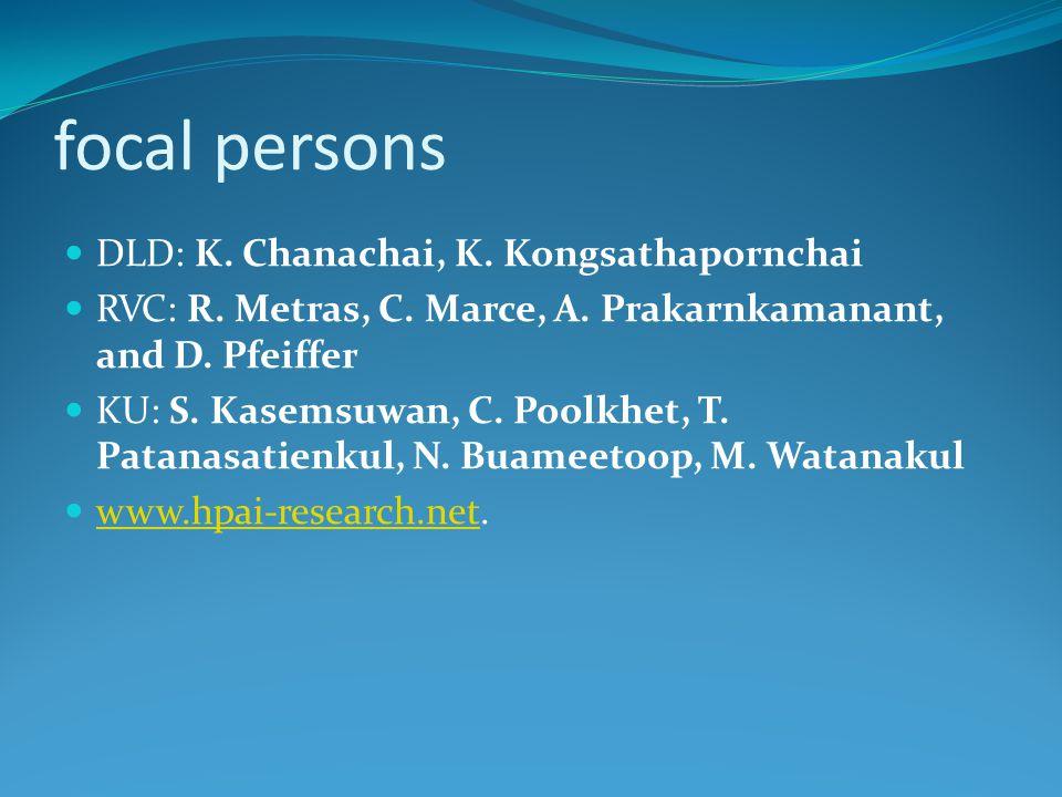 focal persons DLD: K. Chanachai, K. Kongsathapornchai RVC: R. Metras, C. Marce, A. Prakarnkamanant, and D. Pfeiffer KU: S. Kasemsuwan, C. Poolkhet, T.
