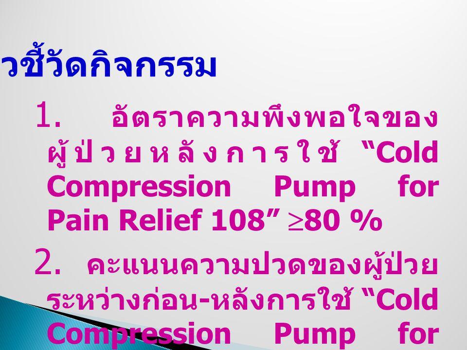 1.อัตราความพึงพอใจของ ผู้ป่วยหลังการใช้ Cold Compression Pump for Pain Relief 108  80 % 2.
