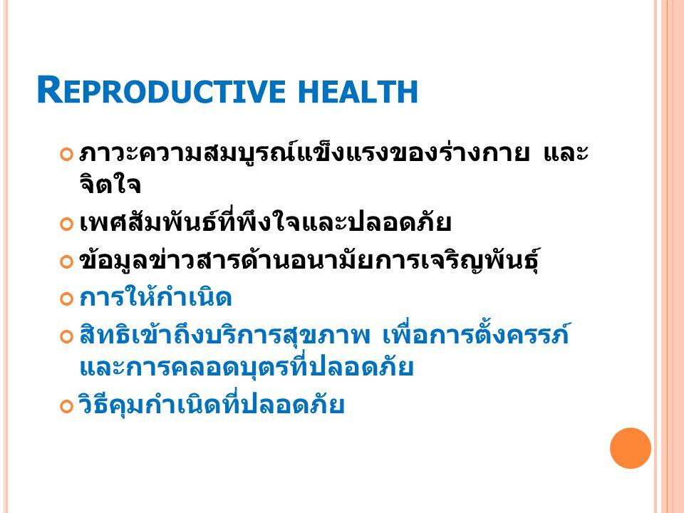 R EPRODUCTIVE HEALTH ภาวะความสมบูรณ์แข็งแรงของร่างกาย และ จิตใจ เพศสัมพันธ์ที่พึงใจและปลอดภัย ข้อมูลข่าวสารด้านอนามัยการเจริญพันธุ์ การให้กำเนิด สิทธิเข้าถึงบริการสุขภาพ เพื่อการตั้งครรภ์ และการคลอดบุตรที่ปลอดภัย วิธีคุมกำเนิดที่ปลอดภัย
