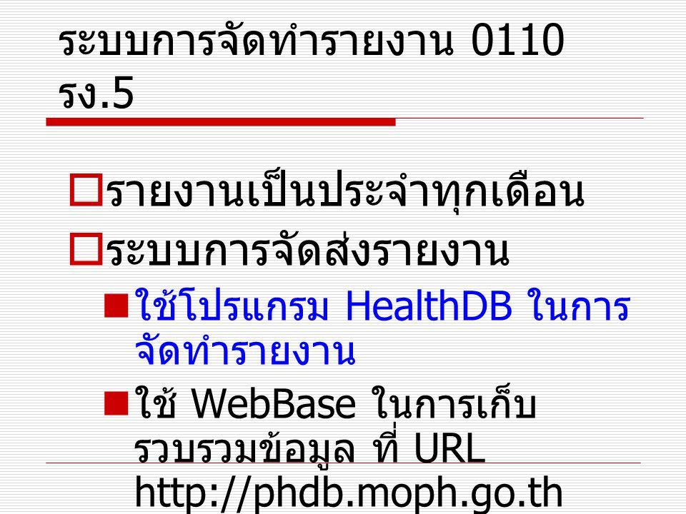 ระบบการจัดทำรายงาน 0110 รง.5 รูปแบบ HealthDB 0110 รง.5 งบทดลอง แปลง file งบทดลอง ข้อมูลการเงิน 0110 รง.5 ข้อมูล งบทดลอง การเงิน กิจกรรม 0110 รง.5 ข้อมูลกิจกรรม 0110 รง.5