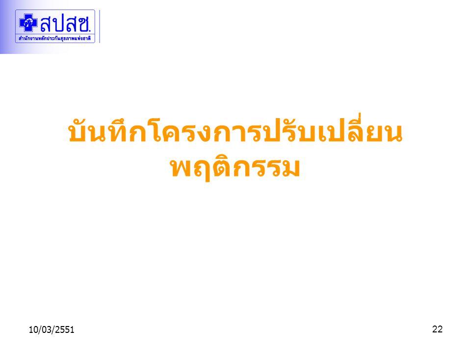 10/03/255122 บันทึกโครงการปรับเปลี่ยน พฤติกรรม