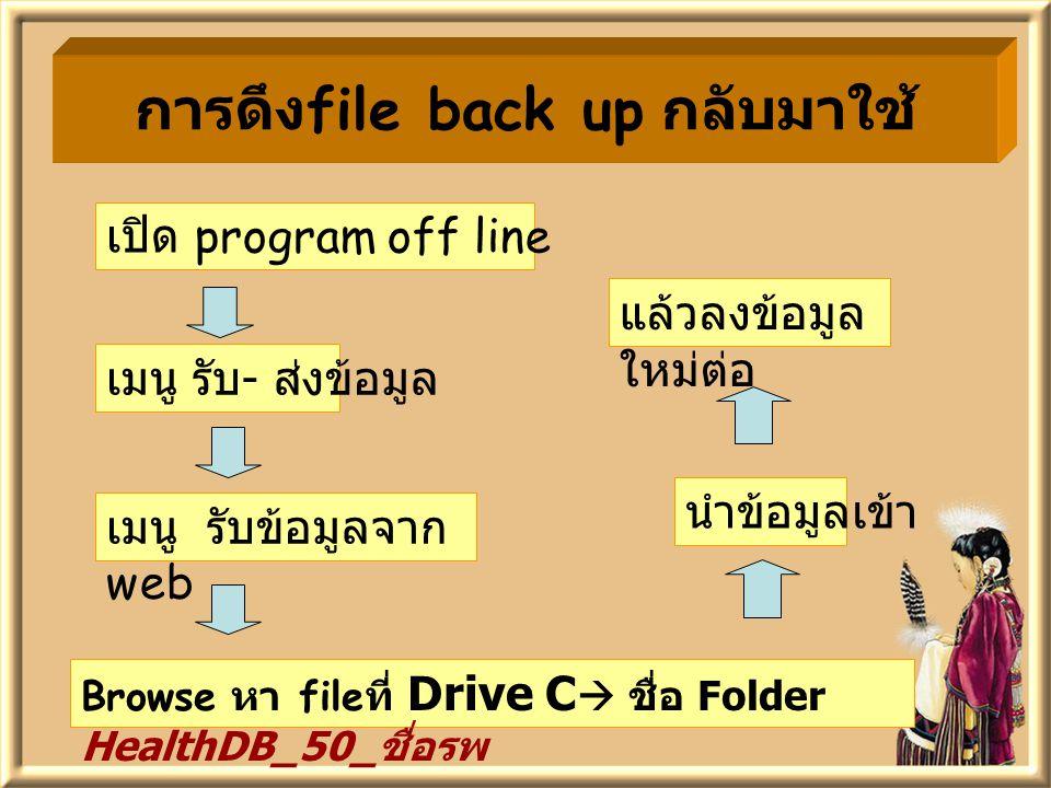 การดึง file back up ก ลับมาใช้ เปิด program off line เมนู รับ - ส่งข้อมูล เมนู รับข้อมูลจาก web Browse หา file ที่ Drive C  ชื่อ Folder HealthDB_50_ ชื่อรพ นำข้อมูลเข้า แล้วลงข้อมูล ใหม่ต่อ