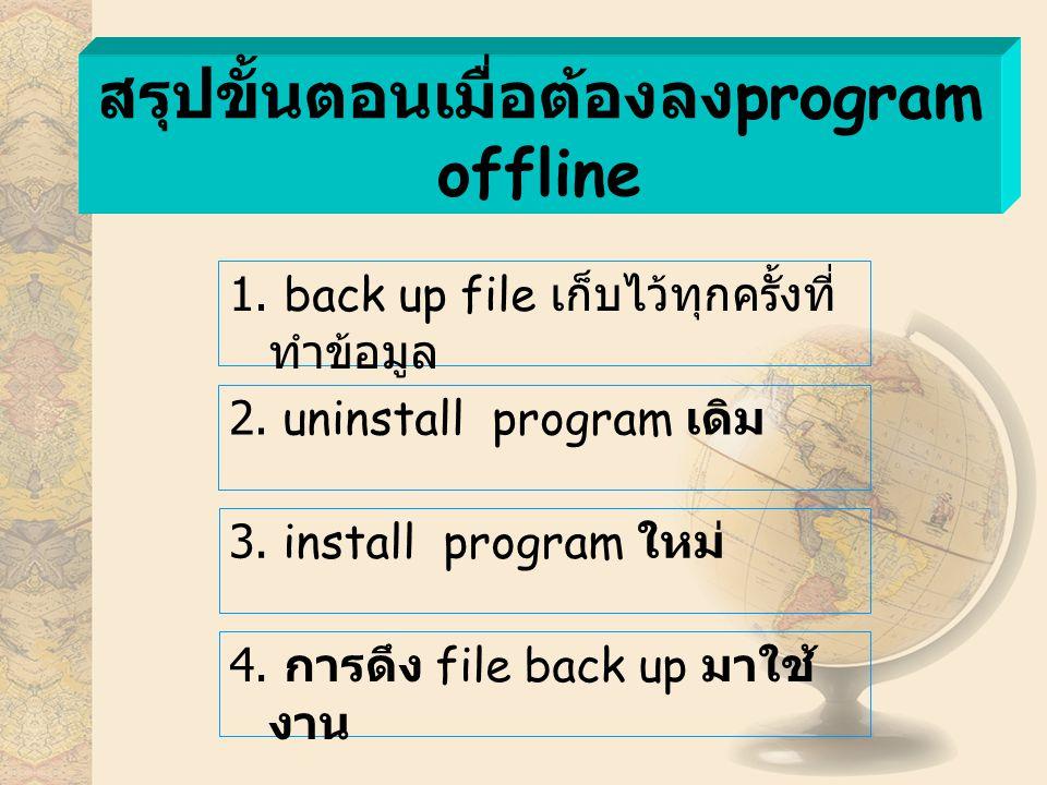 สรุปขั้นตอนเมื่อต้องลง program offline 2. uninstall program เดิม 4.