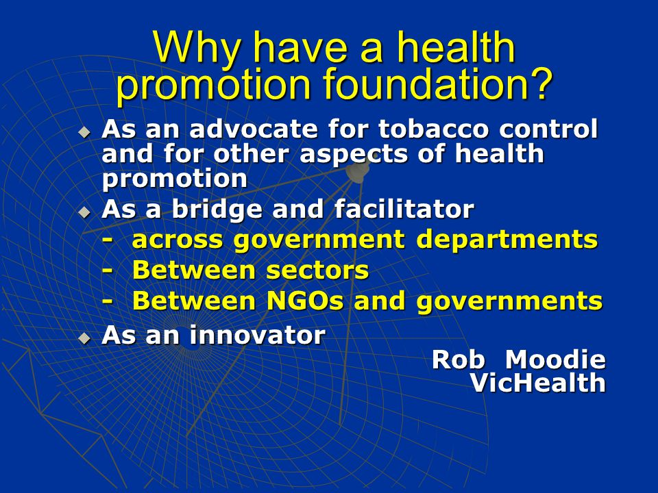 Why have a health promotion foundation.
