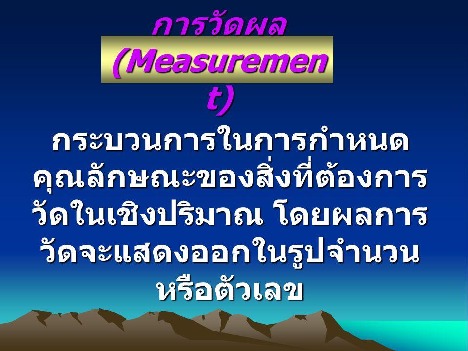 การวัดผล (Measuremen t) กระบวนการในการกำหนด คุณลักษณะของสิ่งที่ต้องการ วัดในเชิงปริมาณ โดยผลการ วัดจะแสดงออกในรูปจำนวน หรือตัวเลข