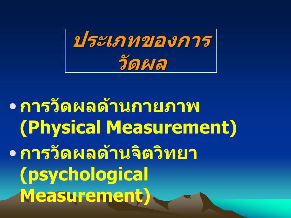 ประเภทของการ วัดผล การวัดผลด้านกายภาพ (Physical Measurement) การวัดผลด้านจิตวิทยา (psychological Measurement)